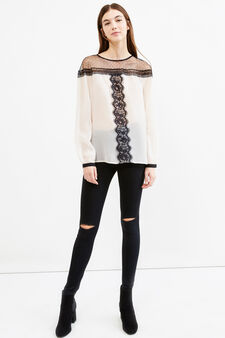 Solid colour blouse with contrasting lace, Chalk White, hi-res