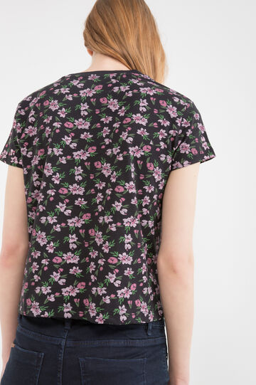Floral, 100% cotton T-shirt, Black, hi-res