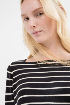 Striped pullover with three-quarter sleeves, Black, hi-res