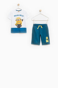 100% cotton outfit with Minions print, White/Blue, hi-res