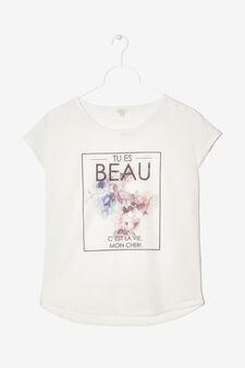 Maglietta con stampa, Bianco, hi-res