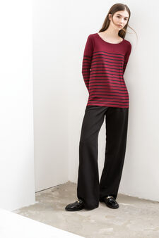 Long sleeved T-shirt with striped pattern, Red, hi-res