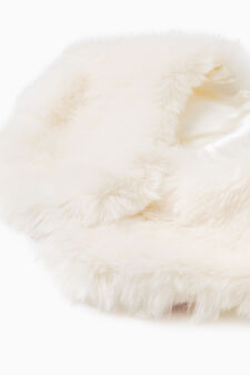 Fur neck warmer, White, hi-res