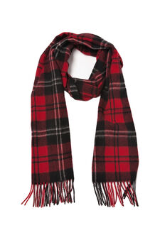Tartan wool scarf with fringe, Red, hi-res