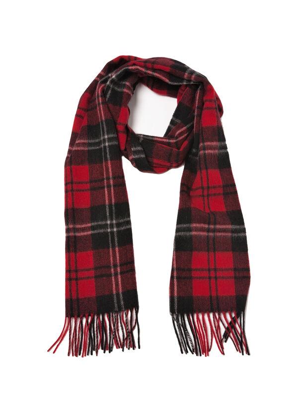 Tartan wool scarf with fringe | OVS
