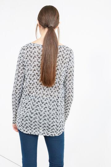 Stretch patterned sweatshirt, Milky White, hi-res