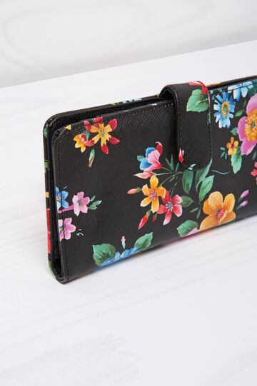 Leather look wallet with floral pattern, Multicolour, hi-res