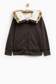 Fleece jacket with faux fur, Smoke Grey, hi-res