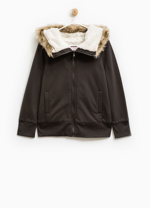 Fleece jacket with faux fur | OVS