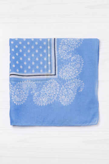 Polka dot and paisley patterned scarf, Soft Blue, hi-res
