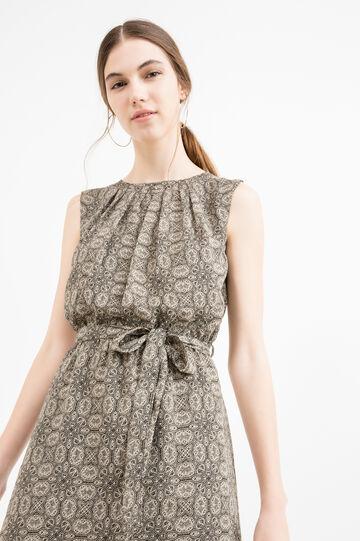 Patterned sleeveless dress in georgette, Black/Beige, hi-res