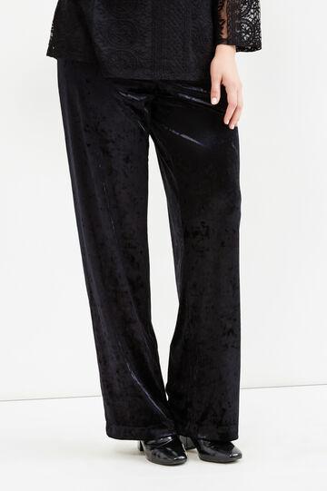 Curvy velvet trousers, Black, hi-res