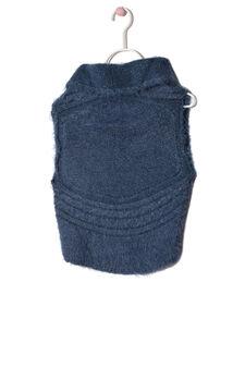 Shaggy knitted waistcoat, Petrol Blue, hi-res