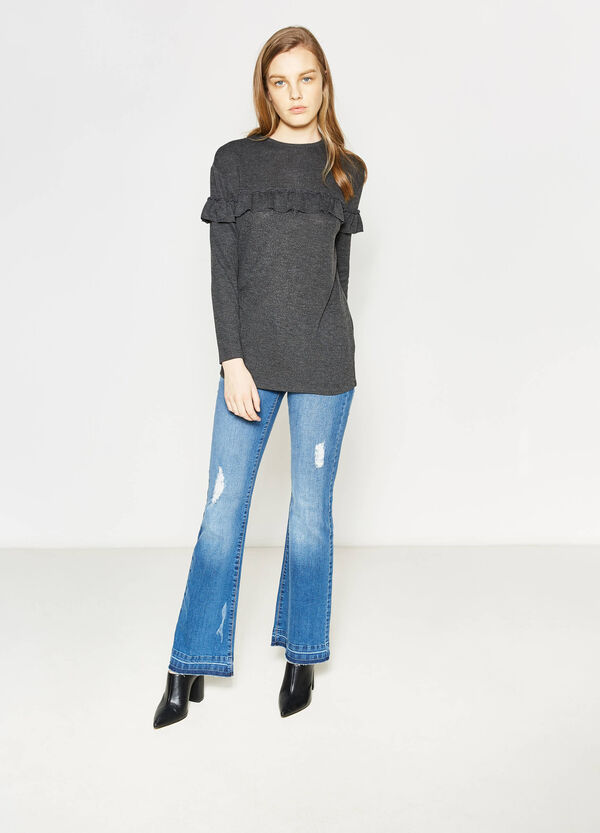 Long-sleeved T-shirt with flounce | OVS
