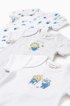 Three-pack animal pattern bodysuits, White/Grey, hi-res