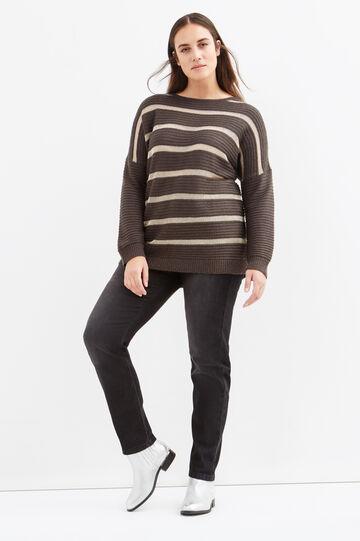 Pullover a righe lana e lurex Curvy, Grigio, hi-res