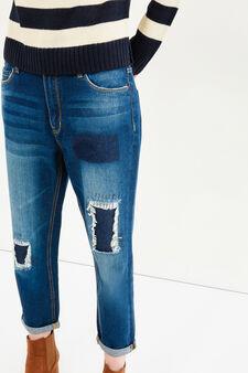 Used effect boyfriend jeans, Dark Blue, hi-res