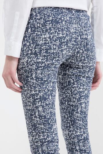 Cotton blend patterned trousers, White/Blue, hi-res