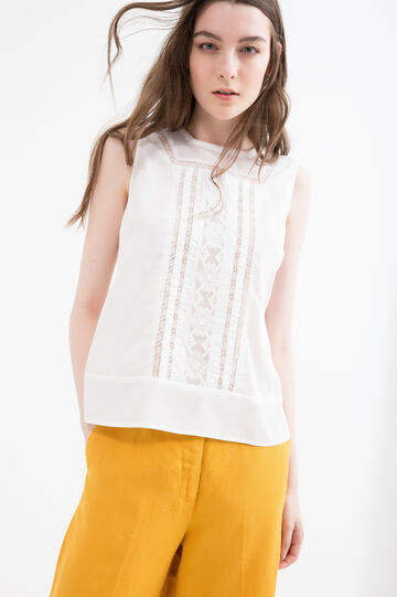 Sleeveless blouse with openwork inserts, White, hi-res