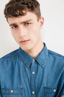 Casual denim shirt with pockets, Denim Blue, hi-res