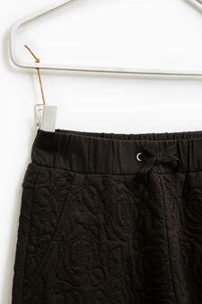 Pantaloni cotone trama floreale, Nero, hi-res