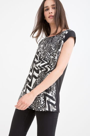 Stretch T-shirt with geometric print, Black/White, hi-res