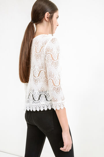 Cotton blend openwork lace blouse, Milky White, hi-res