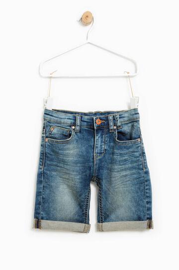 Printed stretch denim Bermuda shorts, Medium Wash, hi-res