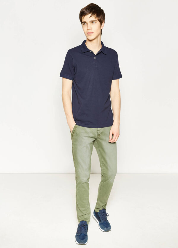 Slim fit, stretch washed-effect chino trousers | OVS
