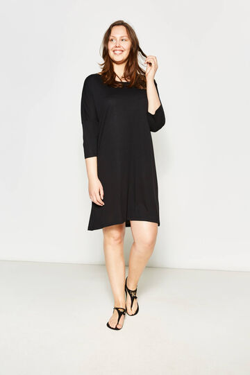 Curvy boat neck dress, Black, hi-res