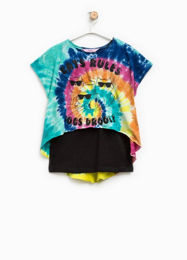 T-shirt stampata con finto doppio fantasia   OVS