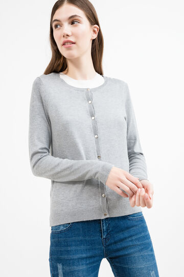Cardigan viscosa bottoni madreperla, Grigio, hi-res