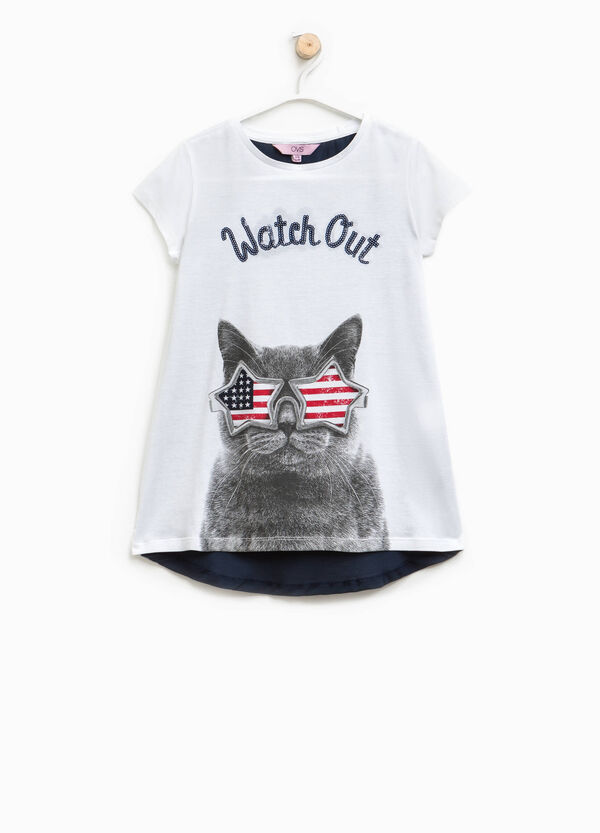 T-shirt stampata con paillettes | OVS