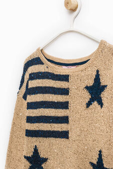 Cotton pullover with embroidery and sequins, Beige, hi-res