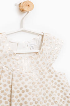 Sleeveless polka dot patterned dress, Milky White, hi-res