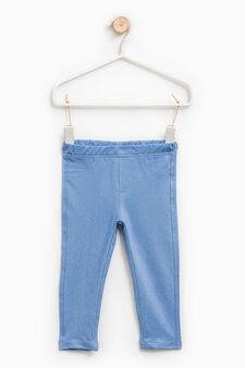 Solid colour 100% cotton jeggings, Soft Blue, hi-res