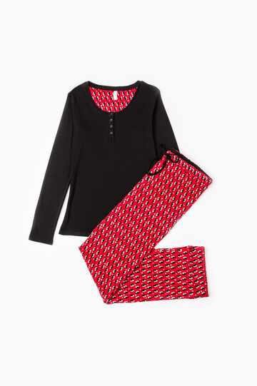 Patterned pyjamas in 100% cotton, Black/Red, hi-res