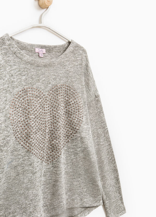 Viscose pullover with heart-shaped studs | OVS