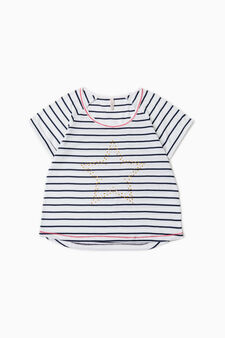 Striped pyjama top with diamantés, White/Blue, hi-res