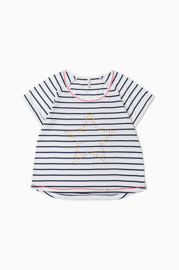 Striped pyjama top with diamantés, White/Blue, hi-res