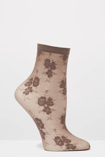 Stretch patterned pop socks, Brown, hi-res