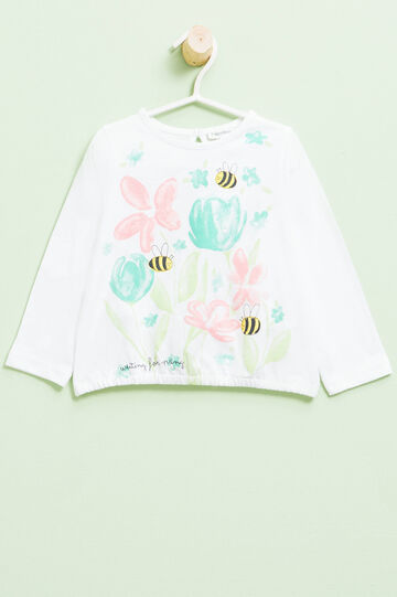 Camiseta con bajo elástico, Blanco, hi-res