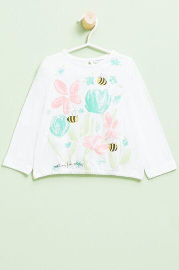 T-shirt with elasticated hem, White, hi-res