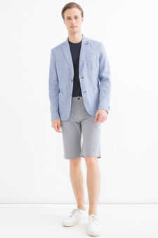 Linen-cotton blend patterned jacket, Soft Blue, hi-res