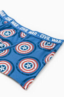 Boxer cotone stretch stampa Civil War, Blu royal, hi-res