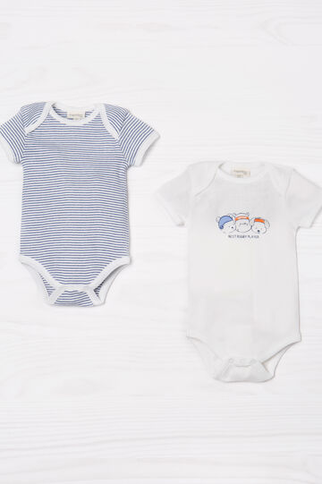 Two-pack bodysuits in 100% cotton, White/Blue, hi-res