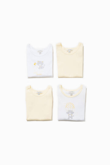 Four-pack bodysuits in 100% Biocotton, White/Yellow, hi-res
