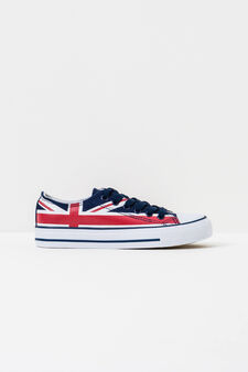 Patterned sneakers with flag design, Blue, hi-res