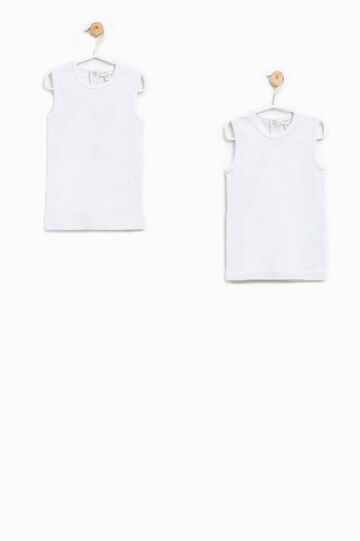 Two-pack solid colour vest tops, White, hi-res
