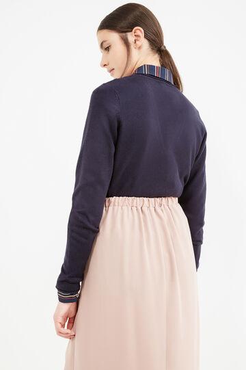 Solid colour V-neck pullover., Navy Blue, hi-res
